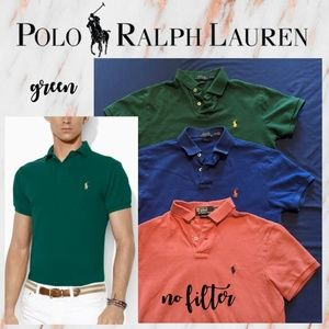 Men's Polo Ralph Lauren GREEN Custom Slim Fit Polo